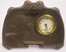 Antique Art Nouveau Style 1906 Westclox? Bronze Desk Mantel Clock For Repair