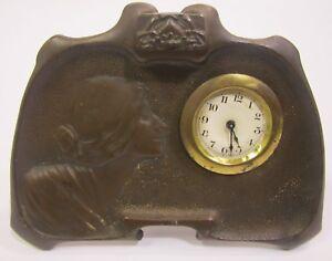 Antique Art Nouveau Style 1906 Westclox Bronze Desk Mantel Clock For Repair