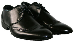 MENS BLACK LACE UP BROGUE DRESS PARTY WORK WEDDING SHOES SIZE 7-12