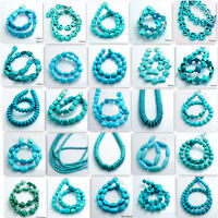 Blue Howlite Turquoise Gemstone Round Loose Spacer Beads 15'' Charm Findings