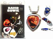 Pickbay Guitar Pick Holder Necklace + David Bowie 6 Guitar Pick Set (licensed)