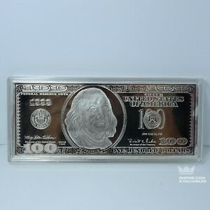 Washington Mint $100 Silver Bill Bar 4 oz (Troy Ounces) Fine Silver .999 *GS1