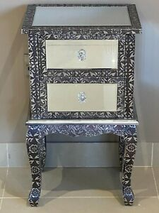 Mirrored Bedside Cabinet Chest of Drawers Blackened Silver Metal Embossed