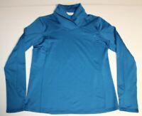Womens LL Bean Thumb Holes Shawl Collar Long Sleeve Shirt Pullover Small Blue