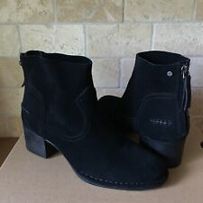 UGG Bandara Black Suede Stacked Heel Zip Ankle Mini Boots Booties Size 8.5 Women