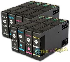 8 T701 non-OEM Ink Cartridges For Epson WorkForce Pro WP-4525DNF WP-4535DWF