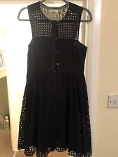 Whistles Embroidery Black Skater dress, size 8