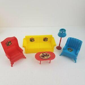 Marx Marxie Mansion Livingroom Vintage Tin Dollhouse Furniture  Plastic 1:16