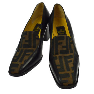 FENDI Zucca Pattern Pumps Shoes Brown Black Canvas Leather Vintage 36 AK38537e