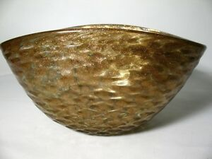 """Archimede Seguso Schale """"grilled bowl"""" geriffelte Oberfläche / Goldeinschlüsse"""