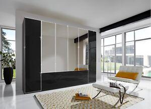 LUXURY GERMAN MOBEL 2 3 4 5 6 DOOR WARDROBE BEDROOM BLACK HIGH GLOSS FITTED FREE