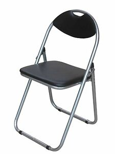 Brand new Black padded folding chair easily stores away backrest Office chair 51