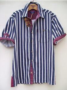 Edwards Heavies ED37 Short Sleeve Cotton Stripe Twill Shirt - Washed Navy - M/L