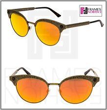 GUCCI GG0220S Brass Bronze Green Orange Mirror Wild Cat Stud Sunglasses 0220 001