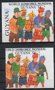 Guyana Bl 39, 8 D, 1989, extrem verschnitten mit Vergleichsblock gest.  #l312