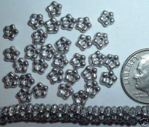 AL1047 CZECH 5mm Glass FLOWER Spacer Beads-SILVER (98)