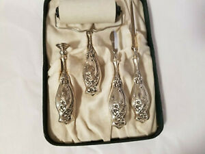 BEAUTIFUL 4 PIECE VICTORIAN STERLING SILVER DESK LETTER OPENER SET + CASE