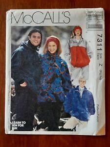 McCALL'S PATTERN - 7311 MEN LADIES JUMPER PULLOVER HOODIE ZIP YOKE XL-XXL UNCUT