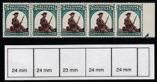S Rhodesia (745) 1943 Matbeleland NARROW stamp variety in strip u/m