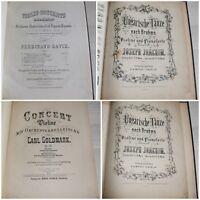 Reliure de PARTITIONS anciennes - PIANO / VIOLON - Goldmark, F.David, P.Rode...