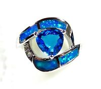 Sterling 925 Silver SF Size 5 Ring Blue Lab Fire Opal & 7mm Blue Topaz & WT