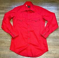 VTG Men's TEMTEX Red Long-Sleeve Western Shirt Pearl Snaps Sz M 15-33 USA MADE