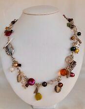 "Necklace Silver Handmade Links Pearls Jade Swarovski Glass Sterling Charms 20"""