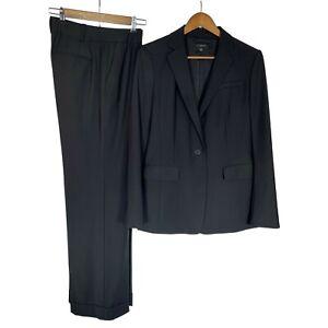 Ann Taylor Stretch Women's Virgin Wool Jacket Blazer Pant Suit sz 8 Black