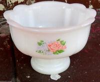 Vintage White Milk Glass AVON Footed BOWL w/ Flowers, Soap Dish, Scalloped Edge