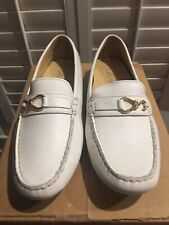 Cole Haan Women's Driving Loafers Size 9.5 White Leather