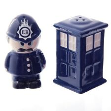 Polieman & Doctor Who Style Tardis (Public Call Box) Salt & Pepper Set
