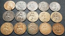 Lot of 15x Great Britain Half Penny Coins - Dates: 1861 to 1940
