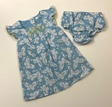 MINI BABY BODEN Blue Butterfly Smocked Dress Size 6-12 Months EUC