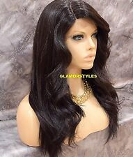 Long Wavy Layered Bangs Dark Brown Full Lace Front Wig Heat Ok Hair piece #2 NWT