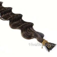 200 Deep Wave Curly I Tip Micro Link Remy Human Hair Extensions Medium Brown #4