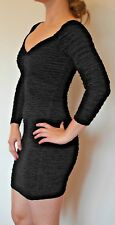 Black Stretchy Body Con Going Out Dress from River Island Size 10