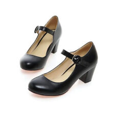 New Womens Ankle Strap Mary Jane Court Shoes Round Toe Mid Block Heel Pumps Size