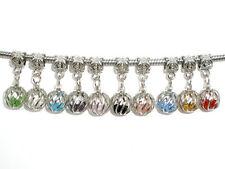 10 European Silberf. Kristall Filigran Dangle Beads