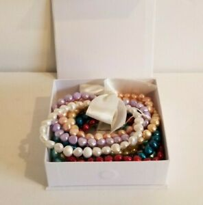 Honora Dyed Freshwater Cultured Pearl Multicolor Stretch Bracelet Set of 10 NIB