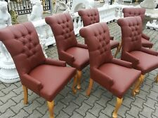 Lederstuhl Set 6x Stuhl Stühle Polster Lehn Klassische Garnitur Sofort lieferbar