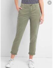 New w Tags Gap Girlfriend Chino Twill Stripe Khakis in Greenstone/Olive Size 2