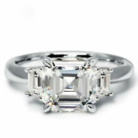 2.85ct Asscher cut Solitaire Diamond Engagement Ring Solid 14k White Gold