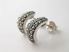 Boucles d'oreilles demi-lune marcassites et argent massif 925 BO96