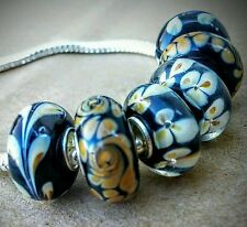 6P Black Tan Desert Earth Tone & Flowers Single Core Murano Glass European Beads