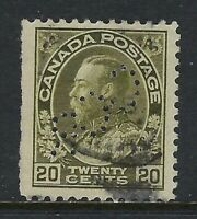 Perfin C11-CCR (Montreal): Scott 119c, 20c King George V Admiral WET, Position 1