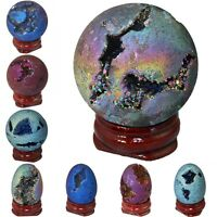 Titanium Coated Druzy Agate Geode Gem Egg/Ball Figurine Specimen With Wood Stand