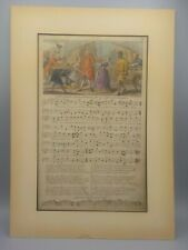 Antique Hand Colored Etching Engraving George Bickham Sheet Music Lamentation
