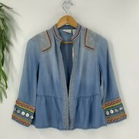 Chico's Womens Petite Coin Detail Denim Chambray Jacket Blazer Size 0P SP Blue
