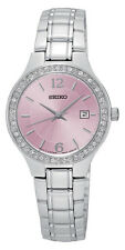 New Seiko SUR787 Swarovski Crystal Elements Stainless Pink Dial Ladies Watch