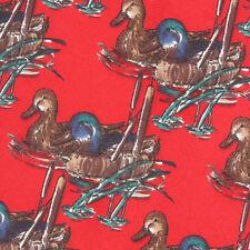 Ducks Unlimited Vintage Red Rustic Wildlife Silk Novelty Neck Tie